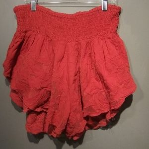 FREE PEOPLE Orange Flowy High Waist SHORTS Large